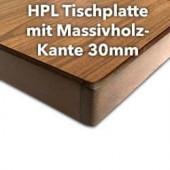 HPL Tischplatte 30mm mit Massivholz-Kante
