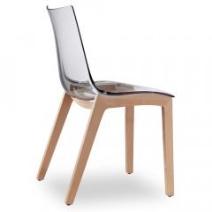 """Kunststoffstuhl mit Holzgestell """"Zebra Antishock Natural Transparent""""  2805"""