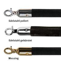 Velours Absperrkordel Ø 30 mm, in Schwarz mit diversen Beschlägen
