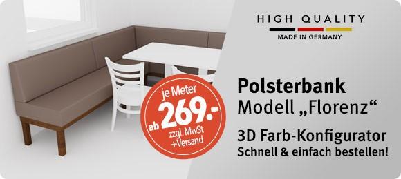 3D Konfigurator für Polsterbank FLORENZ
